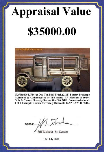 buddy l flivver one ton express truck prototype, buddy l flivver truck value, buddy l flivver dump cart, buddy l flivver huckster information