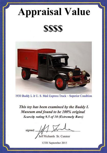 Buddy L Jr Mail Truck for sale, Rare buddy l truck appraisals, buying buddy l cars, buddy l toys, buddy l trains, vintage space toys, antique toy cars, japan tin toys, japanese tin toy robots, keystone toy trucks, buddy l Jr mail truck for sale inquire within, www.buddylcars.com