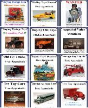 Buying vintage toys selling vintage toys buying vintaage toy cars buying vintage toy banks buying large vintgae toy colelctions buying antique toys highest prices paid free toy appraisals, www.buddylcars.com free toy appraisal